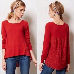 Anthropologie   Yellow Bird Red Avery Lace Sweater